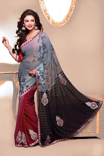 Maroon with Print Printed Saree