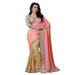Auspicious Purple And Orange Bollywood Saree