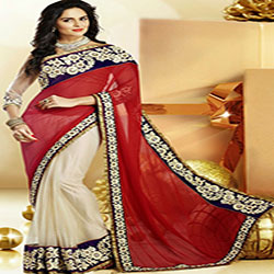 Luscious Off White and Red Wedding Saree